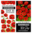 remembrance day red poppy flowers lest we forget vector image vector image