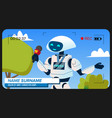 robot reporter makes a video report vector image vector image