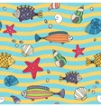 Seamless pattern of sea life on the seashore vector image