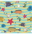 seamless pattern sea life on seashore vector image
