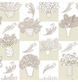 seamless pattern with cute cartoon plants and vector image vector image