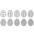 set 3d eggs with horizontal and vertical lines vector image