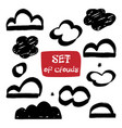 set clouds hand-drawn cloud collection vector image vector image