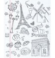 set images various attractions paris vector image vector image