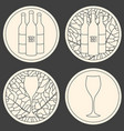 set of linear logo for wine making shop or winery vector image vector image