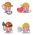 set of popcorn character with explorer heart miner vector image vector image