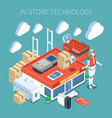 shop technology isometric composition vector image vector image