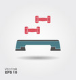 step board and dumbbells icon flat vector image