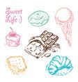 sweet desserts doodle set vector image vector image