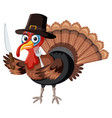 thanksgiving turkey character on white background vector image vector image