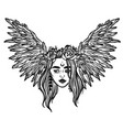 the head of a girl with wings flying head a vector image vector image