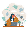 tired woman who touch her vector image vector image