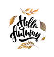 watercolor card with hand lettering hello vector image vector image