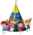 four kids playing indian around teepee vector image