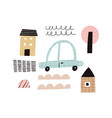 abstract motor car tree houses and doodle vector image vector image