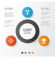 army icons set collection of target atom order vector image