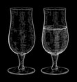 Beer glass full and empty set hand drawn sketch