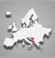 bosnia country location within europe 3d map