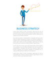 business strategy employer pointing on charts vector image vector image