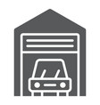 car garage glyph icon automobile and home vector image vector image