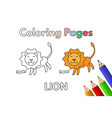 cartoon lion coloring book vector image vector image