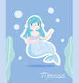 cute little mermaid with blue hair with seaweed vector image vector image