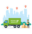 delivery goods truck logistics in city vector image vector image