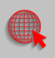 earth globe with cursor red icon with vector image vector image