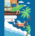 freelance and summer beach activities flat vector image