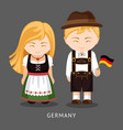 germans in national dress with a flag vector image vector image