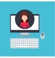 girl pink shirt community social network vector image vector image