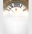 gold 2019 new year background with clock greeting vector image vector image