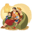 grandmother is reading fairytales to grandchildren vector image