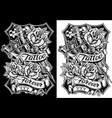 graphic black and white tattoo machine and roses vector image vector image