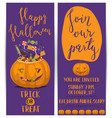 halloween party flyers with scary pumpkin vector image vector image
