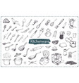 hand drawn kitchen utencils icons set vector image