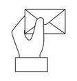 hand with envelope mail vector image vector image