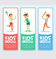 happy kids playing different sports kids land vector image vector image