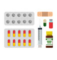 medicine set with blister vector image vector image