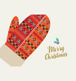 merry christmas holiday card of red winter gloves vector image