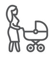 mom with carriage line icon care and child woman vector image vector image