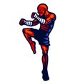 muay thai fighter mascot pose vector image vector image
