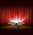 open cardboard box with a glow inside vector image vector image