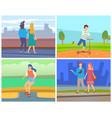 people leisure in city people meeting vector image vector image