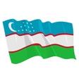 political waving flag of uzbekistan vector image vector image