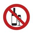 prohibited bottle glass cup drink beverage sign vector image