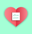 red heart paper sticker with shadow valentine day vector image