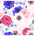 seamless pattern with eustoma and anemones vector image vector image