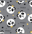 seamless pattern with princess panda vector image vector image