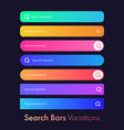 set 7 search bar inputs on dark background vector image vector image